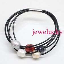 "New jewelry bracelet 5rows black leather 7.5"" Genuine Multi-Color Rice pearl"