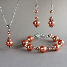 Coral orange pearls silver necklace bracelet earrings wedding bridal jewelry set
