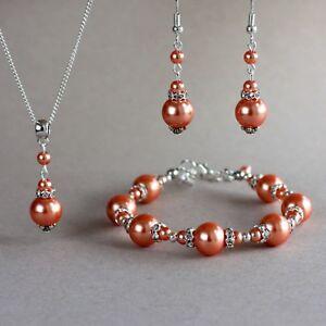 Coral orange pearls silver necklace bracelet earrings wedding bridal jewelry set