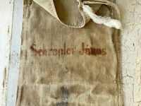 Antique Printed Grainsack Early-Mid 1800s Distressed Brown Grain Sack with Name