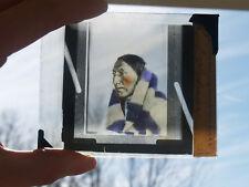 ANTIQUE MAGIC LANTERN SLIDE NATIVE AMERICAN INDIAN REAL PHOTO PORTRAIT BLANKET