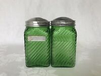 Vintage Green Hoosier Glass SPICE Jars Canisters (2)  Owens Illinois Depression