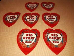 7 Flaschenetiketten – RED HEART JAMAICA RUM – RARITÄT!!