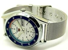 seiko 5 automatic men's white dial railway time day/date vintage japan watch g