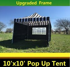 10'x10' Pop Up Canopy Party Tent - Black Stripe - F Model Upgraded Frame