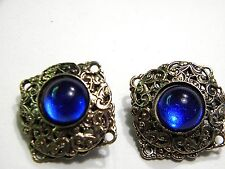 Vintage Brass Square Clip On Earrings with Blue Cabochons Beautiful