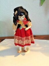 """Vintage Miniature Antique Bisque Jointed 5"""" Spanish Doll"""