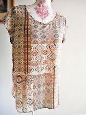 Bluse Tunika GR 38 M Baumwolle NEUWERTIG Ethno-Print Kastenform