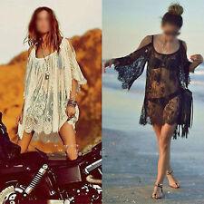 Beach Dress Sexy Strap Backless Lace Floral Crochet Mini Loose Top Kaftan Boho