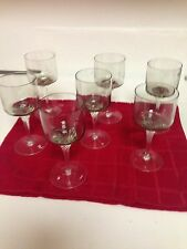 WINE/CORDIAL GLASSES IN LIGHT GREEN WITH TWISTED STEM - 7 TOTAL