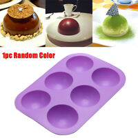 6 Cavity Half Ball Sphere Cake Silicone Muffin Chocolate Cookie Baking Mould NEW