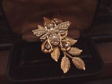 Vintage Pearl Bee Brooch with Gold Flowers & Leaves. Haskell Style