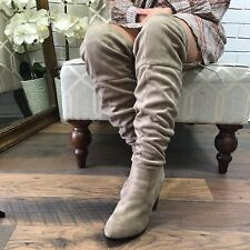 "Qupid Brown Tan Over The Knee Faux Suede 3.5"" Heeled Boots Sz 10 Slouch Lace Up"