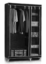 Vinsani Double Canvas Black Wardrobe With Hanging Rail Shelves Storage Furniture