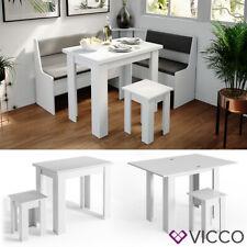 Vicco Eckbankgruppe Küchentisch Roman weiß Esstisch 120x90cm Hocker Essgruppe