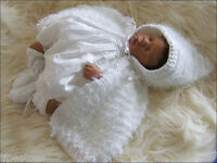 BABY KNITTING PATTERNS DK 10 GABRIELLA CHRISTENING CAPE GIRLS OR REBORN DOLLS