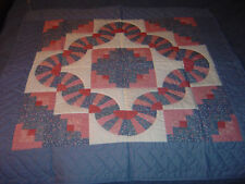 """AMISH BLUE-PINK LOG CABIN WALLHANGING QUILT 39""""- 39"""""""