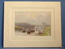 SALMON FISHERS ON RIVER DEE CHESTER VINTAGE DOUBLE MOUNTED HASLEHUST PRINT 10X8