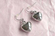 Heart Design - Brand New Silver Dangly Drop Earrings - Puffed