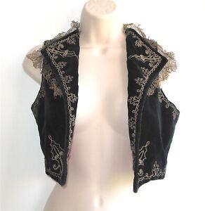 Antique Goldwork Embroidery Velveteen Vest, 18th C.-Style Theatre Costume, XS