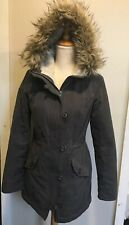 Hollister Women's Sherpa Lined Military Parka Coat Jacket Gray Small (DDD)