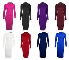 Women Ladies Roll Turtle Polo Neck Long Sleeve Plain Stretch Bodycon Midi Dress