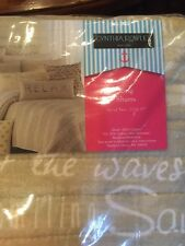 Cynthia Rowley Beach Surf Sand Paradise Relax King Shams Set Tan White NIP