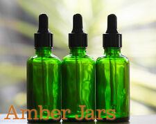 6 x 50ml Green Glass Bottle Black Dropper Pipette Aromatherapy tincture serum