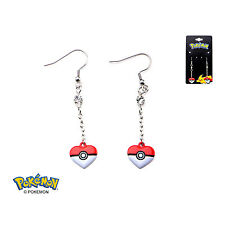 Officially Licensed Pokemon Stainless Steel Poke Ball Heart Shape Dangle Earring