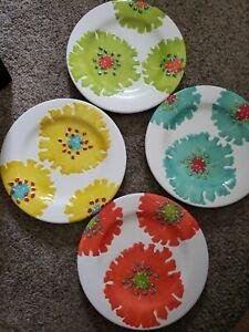 "4 Laurie Gates Melamine Salad Luncheon Plates Raised Floral Design 8.75"""