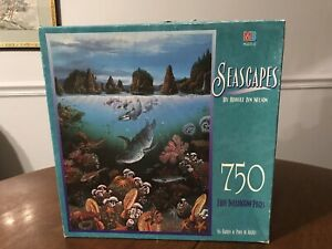 Seascapes 750 Piece Puzzle Sea Garden At Point Of Arches Vintage Milton Bradley