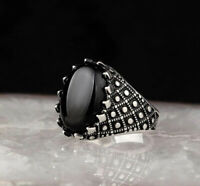 Handmade pure 925 SILVER king rings Black crystal Men all sizes jewelry RRP £40