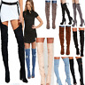 JUSTYOUROUTFIT Womens Distressed Denim/Lace Up/ Suede Belt Thigh High Boots-MIX