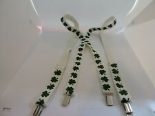 Adjustable White and Green Four Leaf Clover Clip On Suspenders