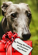 Personalised Whippet Greyhound Lurcher Birthday or Christmas Card + blank insert
