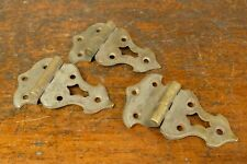 """(3) Antique Ornate Icebox/Chest Brass Hinges - Offset 1/4"""" - Matched Set"""