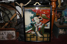 Antique Chinese Japanese Reverse Painting On Glass-Lovely Asian Woman-Large