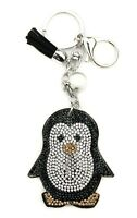 AuPra Crystal Penguin Woman Keyring Funny Bird Man Keychain Pendant Friend Gift