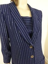 Nwt Yves Saint Laurent Navy Blue Stripped Twin Set Jacket Size 38/6