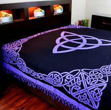Celtic Trinity Tie Dye Tapestry Cotton Bedspread Throw Twin 70x104 inches Purple