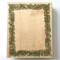 Stamps Happen HOLLY & BERRIES FRAME Rubber Stamp Christmas Holiday Wood Mounted