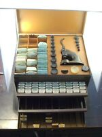 VINTAGE BULOVA WRISTWATCH PRESS&CRYSTALS PARTS TOOLS LOADED PLUS 3 PARTS DRAWER