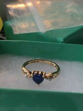 10k solid yellow gold ring sapphire with diamonds size 4