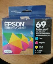 02/2018 open box Epson 69 Genuine BLACK and Color  Inks T069120-BCS  T0691-T0694