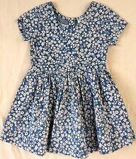 Girls Size 6 White Floral Print Cotton Chambray Dress