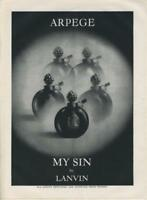 "1962 Lanvin PRINT AD features: ""My Sin"" Perfume Vintage Bottles Great Art work"