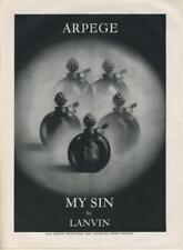 "1962 Lanvin PRINT AD features: ""My Sin"" Perfume Vintage Bottles Great Art work"