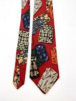 Brooks Brothers Makers Silk Men's Necktie Tie Burgundy Shirt Print
