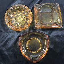 Lot of 3 Vintage Amber Glass Ashtrays, Square, Circle, Triangle