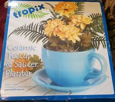 Tropix Large Ceramic TeaCup & Saucer Planter Sky Blue Planting Gardening Decor